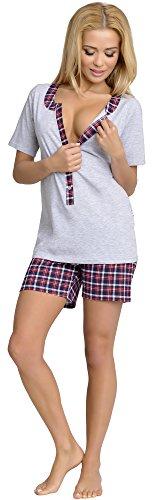 Be Mammy Damen Schlafanzug Stillpyjama J5ST3N2 (Melange, S)