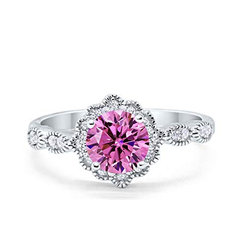 Blue Apple Co. Halo Floral Art Deco Wedding Engagement Ring Round Simulated Pink Morganite Cubic Zirconia 925 Sterling Silver, Size-8