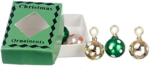 diseños exclusivos Dollhouse Miniature Box of Christmas Ornaments in in in verde by International Miniatures  El ultimo 2018