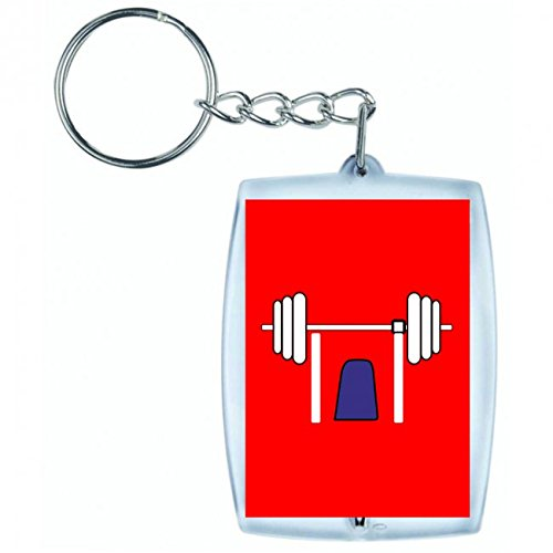 'Llavero 'pesos de práctica de levantamiento de pesas de equipo Press de banca de levantar de fitness habitación de Gymnasium de entrenamiento de salud en blanco y negro de color azul de rosa de amarillo de color rojo de verde | Keyring–Funda colgante–Mochila colgante–Llavero rojo