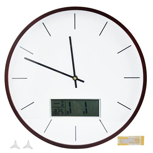 Reloj De Pared Simple LCD, Claro Y Fácil De Leer con Pantalla Grande Reloj De Pared con Pantalla LCD para Decoración De Sala De Estar para Cafés, Tiendas, Bares, Decoración De(Escama-Nogal)