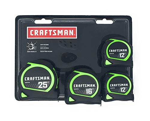 Craftsman High Visibility Tape Measures 4 Pack (1-25ft, 1-16ft, 2-12ft)
