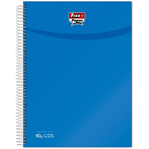 Fixo Paper 98852932. Cuaderno Espiral, A4, Cuadriculado 5 Mm, 120 Hojas, 90 gr, Azul Oscuro, A4, Tapas de Polipropileno