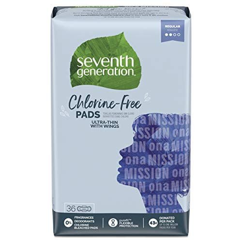 Seventh Generation Ultra Thin Pads with Wings, Regular Absorbency, Chlorine Free, 36 Count...