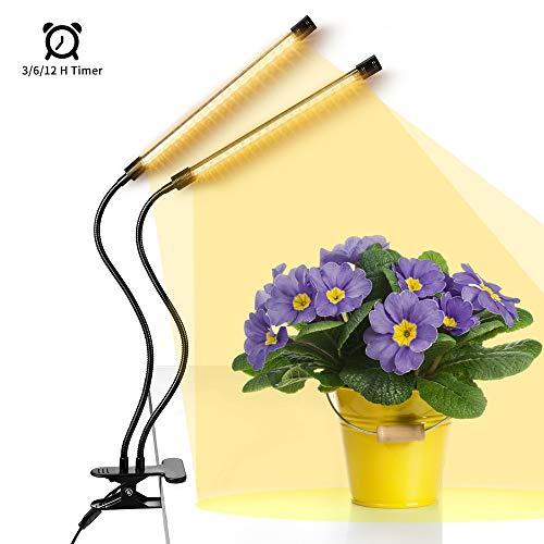 Anten Pflanzenleuchte Vollspektrum mit 40 LEDs, Timer-Funktion, Pflanzenlampe Sonnenlicht, 6 Stufen verstellbare Helligkeiten, Wachstumslampe geeignet für Zimmerpflanzen, Gartenarbeit, Gewächshaus