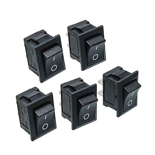 RoXane 25Pcs Bouton Poussoir Noir Mini Switch 6A-10A 110V 250V Kcd1-101 2Pin Snap-In Interrupteur Marche/Arrêt