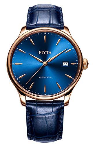 FIYTA Classic orologio da uomo automatico blu con cinturino in pelle blu, datario e fondello con finestrella DGA802063.PLL