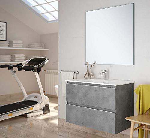 Aquareforma   Mueble de Baño con Lavabo y Espejo   Mueble Baño Modelo Sundee 2 Cajones Suspendido   Muebles de Baño   Diferentes Acabados Color   Varias Medidas (Hibernian, 60 cm)