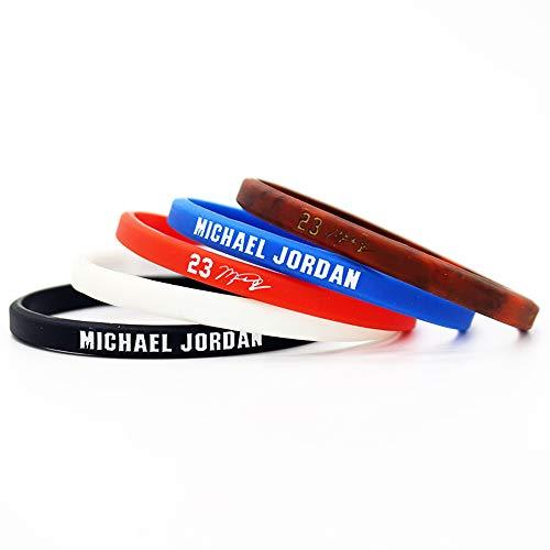 Jugador de Baloncesto Estrella inspiradora Firma Pulseras Finas Ventiladores Deporte Silicona pequeña Pulsera (Jordan)