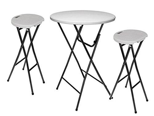 Table haute stable et 2 tabourets de bar pliables, blanc, Ø 80 cm, FPS195-145