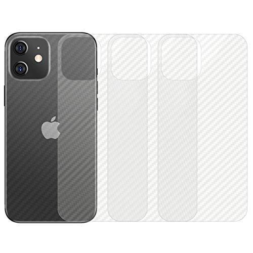 qichenlu [Carbon Muster] 4 Stück Rückseite Folie kompatibel mit iPhone 12 Mini, Folie Hinten kompatibel mit iPhone 12 Mini,Klar Matt Klebefolie Kratzfest Hinten Schutz