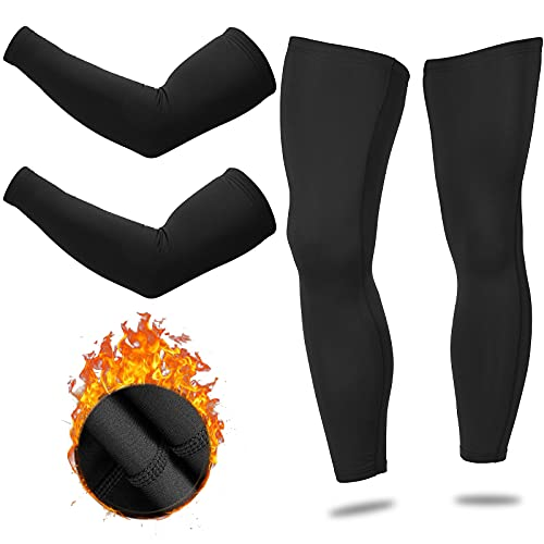 2 Pairs Sports Compression Arm Sleeve Running Arm Warmer Cold Protection Sleeve, Cycling Leg Warmer Compression Full Leg Sleeve Outdoor Leg Warmer for Men Women Running Climbing Basketball Football