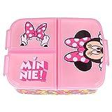 Stor Minnie Mouse| Sandwichera con 3 Compartimentos para niños - Fiambrera Infantil para Colegio - lonchera para niños
