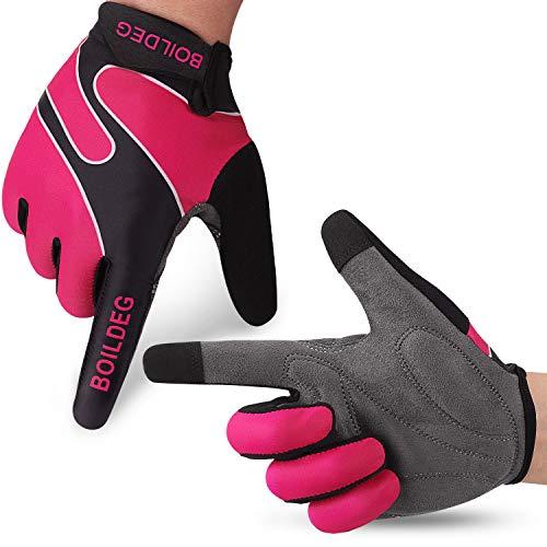 boildeg Fahrradhandschuhe Radsporthandschuhe rutschfeste und stoßdämpfende Mountainbike Handschuhe mit Signalfarbe geeiget Unisex Herren Damen (M, Rose Red)
