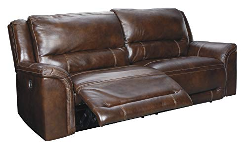 Signature Design by Ashley Catanzaro 2-Seat Power Reclining Sofa Adjustable Headrest Mahogany