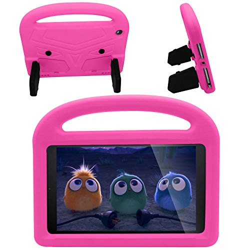 FANSONG Kids Case for All-New Fire HD 8 Tablet/8 Plus 2020 Kid-Proof Handle Stand Light Weight Rugged Bumper Protective Cover for Amazon Fire HD 8 inch (10th Generation, 2020 Release), Hot Pink