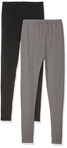 MAMALICIOUS Damen MLLEA Organic Long Legging 2PACK Umstandsleggings, Schwarz (Black), 42 (Herstellergröße: XL)