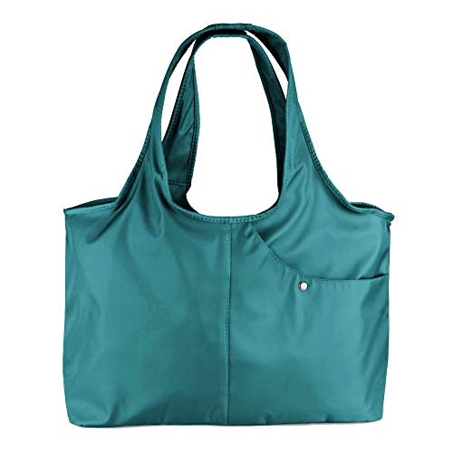 ZOOEASS Women Fashion Large Tote Shoulder Handbag Waterproof Tote Bag Multi-function Nylon Travel Shoulder (Jade)