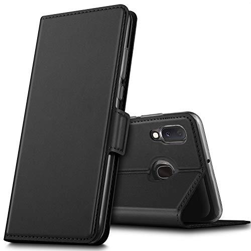 GEEMAI für Samsung Galaxy A20e Hülle, handyhüllen Flip Hülle Wallet Stylish mit Standfunktion & Magnetisch PU Tasche Schutzhülle passt für Samsung Galaxy A20e Smartphone, Schwarz