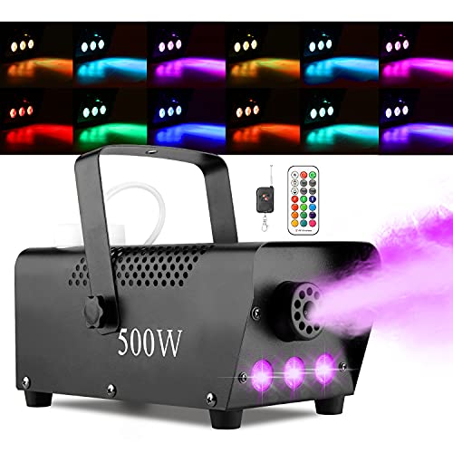 Halloween Fog Machine with Lights - 3 Stage LED Lights with 12 Colors...