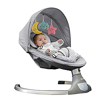 Nova Baby Swing for Infants - Motorized Portable Swing Bluetooth Music Speaker with 10 Preset Lullabies Remote Control Gray - Jool Baby