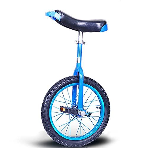 ZLI Monociclo Monociclo para Adultos/Niños Grandes/Hombres/Mujeres, Azul Bicicleta de Una Sola Rueda con Llanta Antideslizante de 16/18/20 Inch, Estructura de Acero Resistente (Size : 16 Inch)