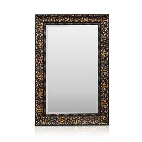 Rococo by Casa Chic - Espejo de Pared Shabby Chic - 90x60 cm - Gran Espejo Estilo Vintage Francés - Carbón y Oro