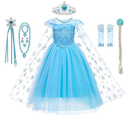 DecStore Mädchen Prinzessin kostüm Kinderkleider Karneval Verkleidung Party Kleid Halloween Fest Set mit Zubehör(Blue Style A(with Accessories) 140)