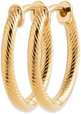 Tata Gisèle - Orecchini placcati oro giallo 18 carati, a cerchio intrecciati, 20 mm, in sacchetto di velluto