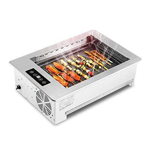 Yangyang Elektrogrill Tischgrill,Elektrischer Tischgrill, Elektrogrill antihaftbeschichtet Grillplatte raucharmer Indoor BBQ Grill, Abnehmbarer Auffangbehälter