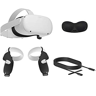 2020 Oculus Quest 2 All-in-One VR Headset, 256GB SSD, 1832x1920 up to 90 Hz Refresh Rate LCD, Glasses Compitble, 3D Audio, Mytrix Link Cable (10 Ft), Grip Cover, Lens Cover