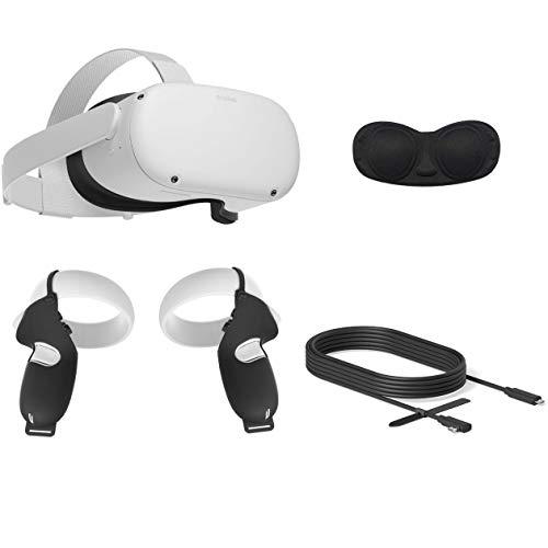 2020 Oculus Quest 2 All-in-One VR Headset, 64GB SSD, 1832x1920 até 90 Hz Taxa de Actualização LCD, óculos Compitble, Áudio 3D, Link Cable Mytrix (10 pés), aperto Tampa, Tampa da lente