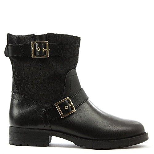 DKNY Naomi Aus Schwarzem Leder Heritage Logo Biker Boot 38.5 Black Leather