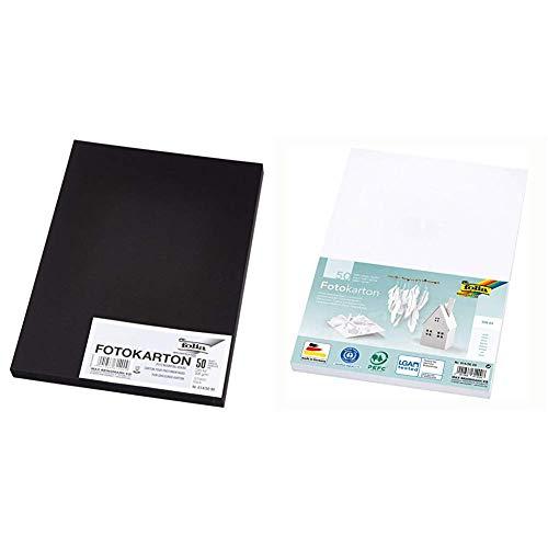 folia 614/50 90 - Fotokarton DIN A4, 300 g/qm, 50 Blatt, schwarz - zum Basteln & kreativen Gestalten von Karten, Fensterbildern & für Scrapbooking und 614/50 00 - Fotokarton DIN A4, 50 Blatt, weiß