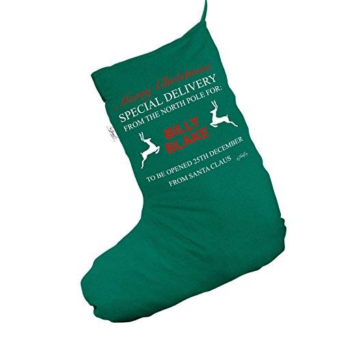 Personalizzato North Pole Reindeer Jumbo verde calza di Natale