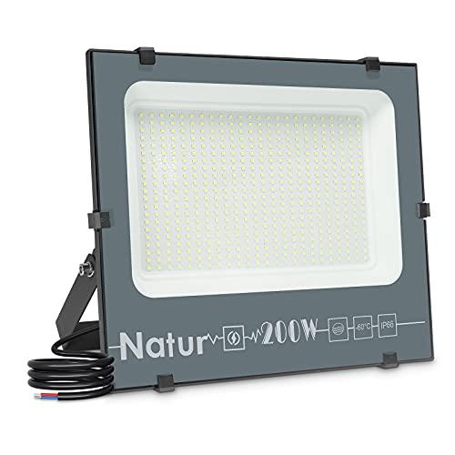 200W Faretti LED Esterno,20000LM Faretto LED da Esterno Faro LED Esterno, Proiettore da Esterno Fari LED da Esterno BiancoFreddo 6000K da Esterno Impermeabile IP66 Interna ed Esterna