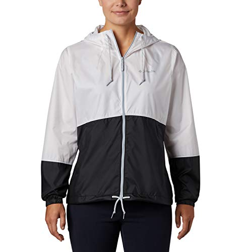 Columbia Women's Flash Forward Windbreaker, Water & Stain Resistant, White/Black, Medium