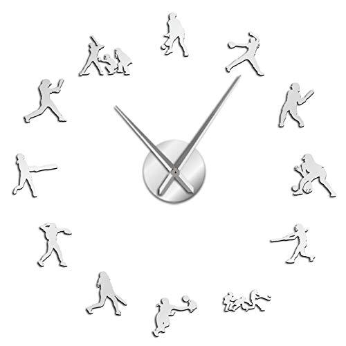 WEIGENG Reloj de pared manual sin marco con pegatinas artísticas para mesa de pared grande, ideal como regalo, agujas de metal grandes, reloj gigante (color plateado, tamaño de la hoja: 37 pulgadas)
