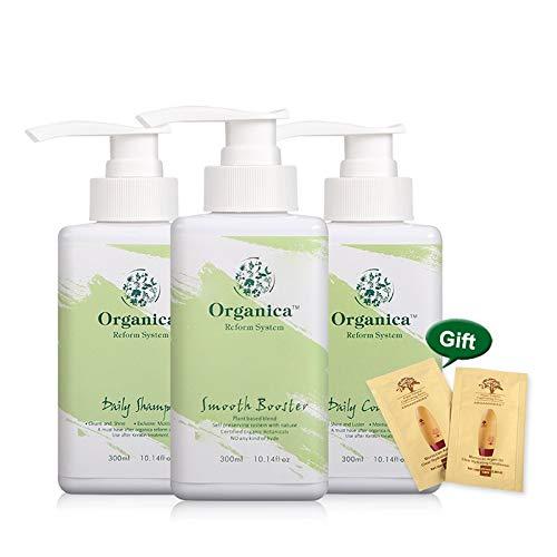 MRmeifa 3Pcs Naturel Organique Hydrolysé Kératine Traitement 300Ml Lisse Booster + 300Ml Shampooing Quotidien + Revitalisant Quotidien
