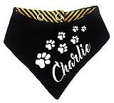 KLEINER FRATZ gestreiftes Hundehalstuch Wendehalstuch für Hund/Katze Dog Pet Tuch mit dem Namen Ihres Tieres (Gr.3 - Halsumfang 36-44 cm, schwarz-gelb)