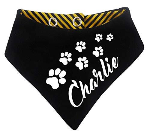 KLEINER FRATZ gestreiftes Hundehalstuch Wendehalstuch für Hund/Katze Dog Pet Tuch mit dem Namen Ihres Tieres (Gr.1 - Halsumfang 27-30 cm, schwarz-gelb)