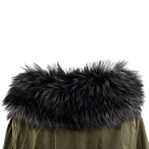 Deargles - Cuello de piel sintética imitación de pelo pelo pelo pelo pelo pelo bufanda Stolen Waschb?r abrigo de invierno capucha borde 75 * 18 cm