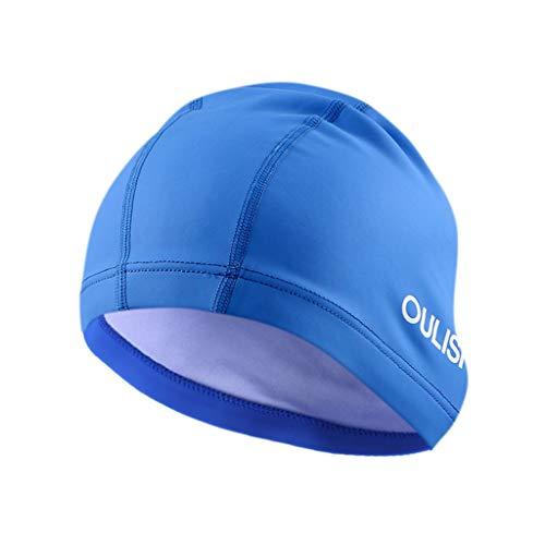 Schwimmmütze Damen Badehauben Erwachsene Unisex Schwimmen Caps 48X19 cm für Herren Sommer Strand Surfen Mode Einfarbig(Blau,Free)