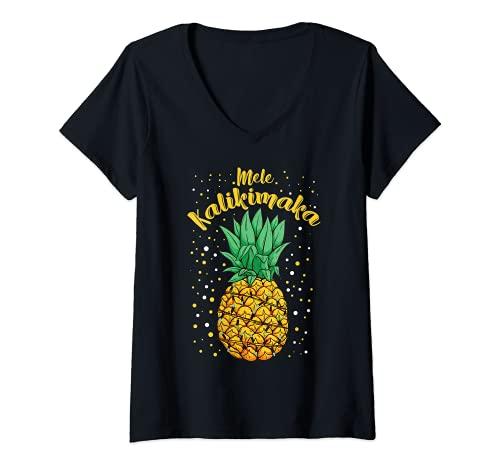 Mujer Mele Kalikimaka Navidad hawaiana regalo divertido Camiseta Cuello V