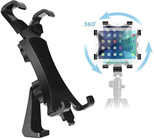 IPOW 360° drehbarer Tablet Stativ Halterung Halter Clip Mount Adapter kompatibel mit Selfie Stick Stange Kamera Stativ Tri-pod, Inklusive 1/4