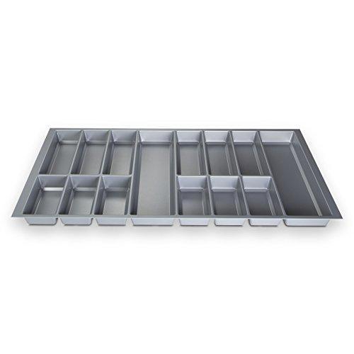 Orga-Box Besteckeinsatz Besteckkasten Silbergrau für 100er Schublade (473,5 x 926 mm)