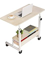 Height Adjustable Sofa Side Table Computer Desk Laptop Table Home Office Workstation with Lockable Wheels for Bedroom Living Room Working Studying and Entertaining (60 x 40cm, Beige)