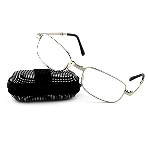 Damen Herren Faltlesebrille Metall Lesebrille Lesebrillen Augen Brille faltbare Brillen Augenoptik Sehhilfe Lesehilfe Sehstärke mit Brillenetui (+1.50)