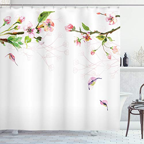 Ambesonne Watercolor Shower Curtain, Apple Tree Blooming in Spring Season Branches Falling Leaves Romantic, Cloth Fabric Bathroom Decor Set with Hooks, 70' Long, Pink Green