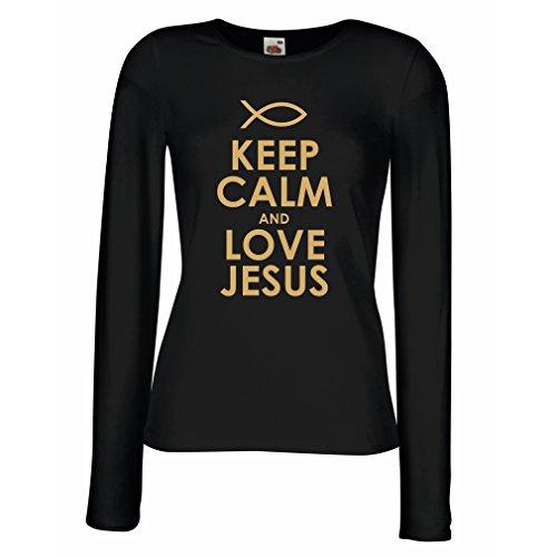 Maniche Lunghe Femminili T-Shirt AMA Gesù Cristo, Religione Cristiana - Pasqua, Resurrezione, Natività, Idee Regalo religiose (Medium Nero Oro)